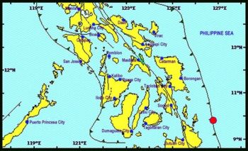 MANILA. Map shows the location of the magnitude 5.5 earthquake that hit Surigao del Norte. (Source: Phivolcs)