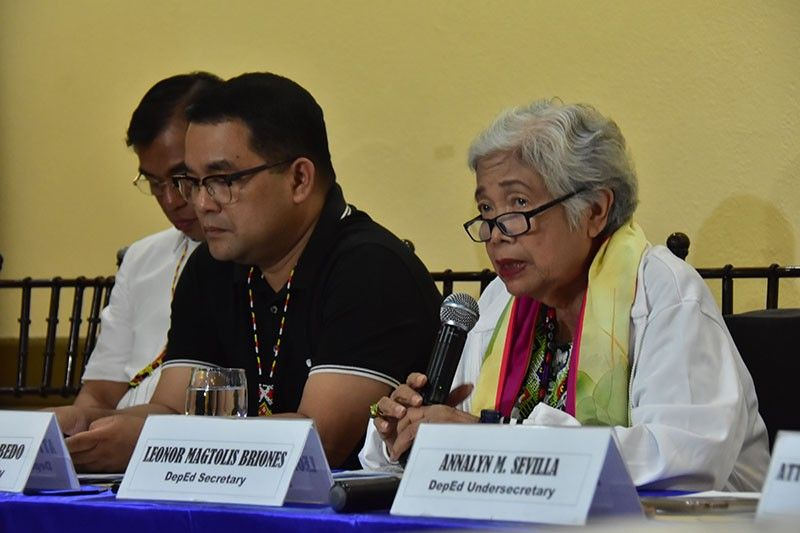 DAVAO. Department of Education Secretary Leonor Briones in a press conference in Davao City on Monday, April 29, 2019. (Macky Lim)