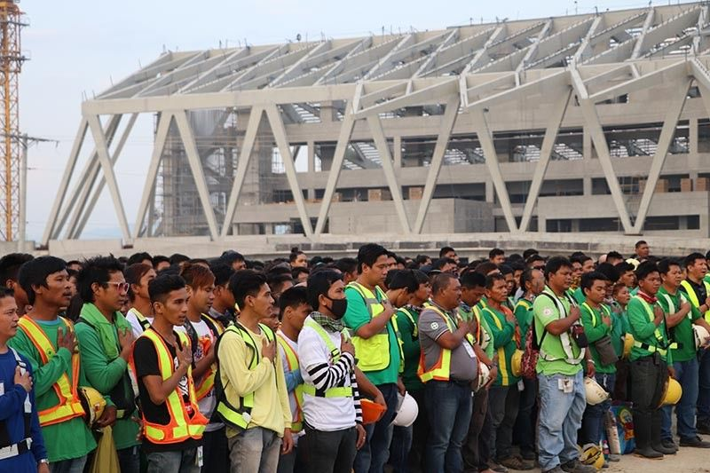 CLARK. Some 6,000 workers at the New Clark City National Government Administrative Center were given tribute by the Department of Transportation and the Bases Conversion and Development Authority during a simple program at the NGAC site during Labor Day. (BCDA photo)