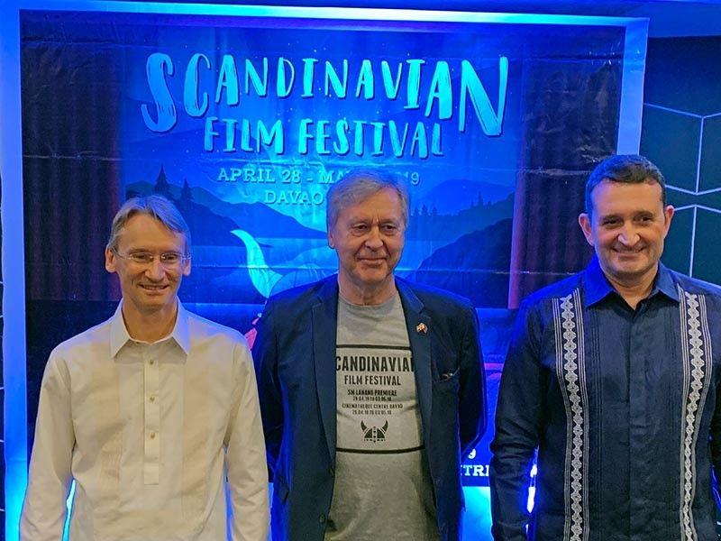 DAVAO. At the Scandinavian Film Festival launching in Davao-Swedish Ambassador Harald Fries, Danish Ambassador Jan Top Christensen and Norwegian Ambassador Bjørn Jahnsen. (Jinggoy I. Salvador)
