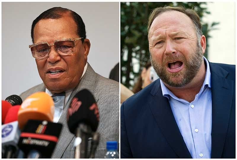 This combination of file photo shows minister Louis Farrakhan, the leader of the Nation of Islam, in Tehran, Iran, on Nov. 8, 2018, left, and conspiracy theorist Alex Jones in Washington on Sept. 5, 2018, right. Facebook has banned Louis Farrakhan, Alex Jones and others from its platform and from Instagram saying they violated its ban against hate and violence. The company said Thursday it has also banned extreme right-wing figures Paul Nehlen, Milo Yiannopoulos, Paul Joseph Watson, Laura Loomer and the conservative conspiracy site Infowars. Jones was already banned from Facebook but not from Instagram. (AP)