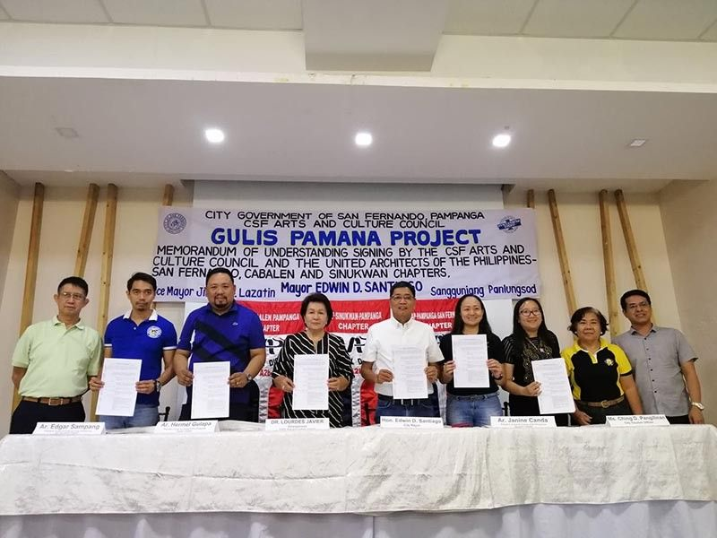 PAMPANGA. UAP San Fernando Chapter president Architect Edgar Sampang, UAP Cabalen Chapter president Architect Hermel Gulapa, City of Arts and Culture Council Chairperson Dr. Lourdes Javier, City of San Fernando Mayor Edwin Santiago, UAP Sinukwan Chapter President Architect Janine Canda, and City Tourism Officer Ching Pangilinan show their memorandum of understanding copies for