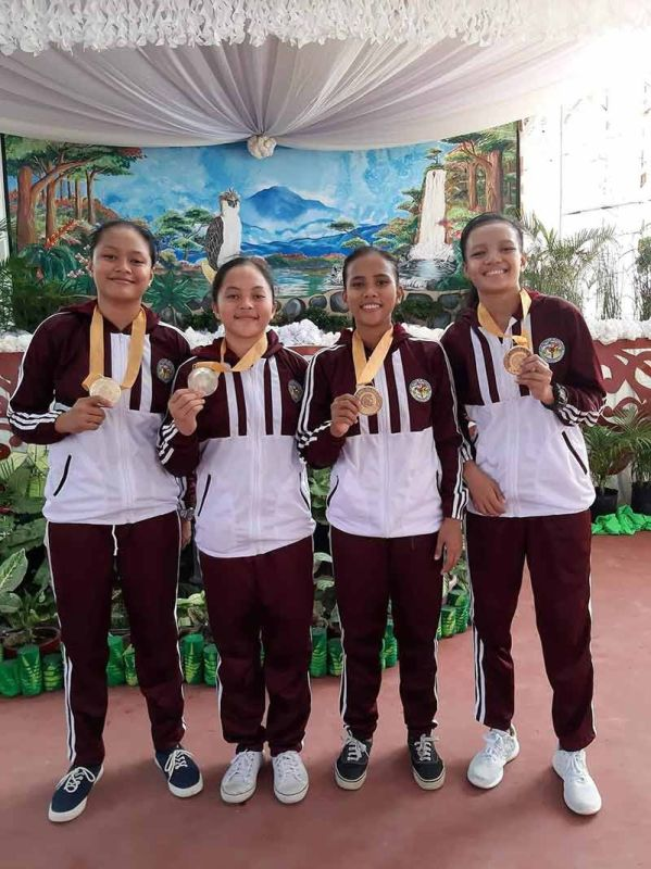 DAVAO. The secondary girls 3x3 team of Anghella Coco, Dyna Mae Lampara, Queencel Regeno and Rhea Ville Bausin give Davao region's 13th and final gold medal in the Palarong Pambansa 2019. (Aries Bastian)