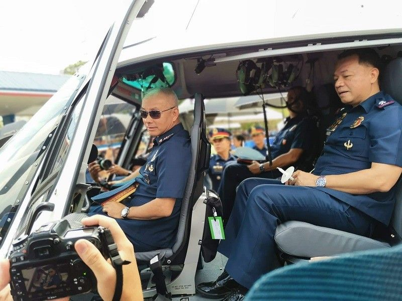 MANILA. Philippine National Police (PNP) Chief Oscar Albayalde rides in one of two new helicopters acquired by the police force. (Photo contributed by PNP-PIO)