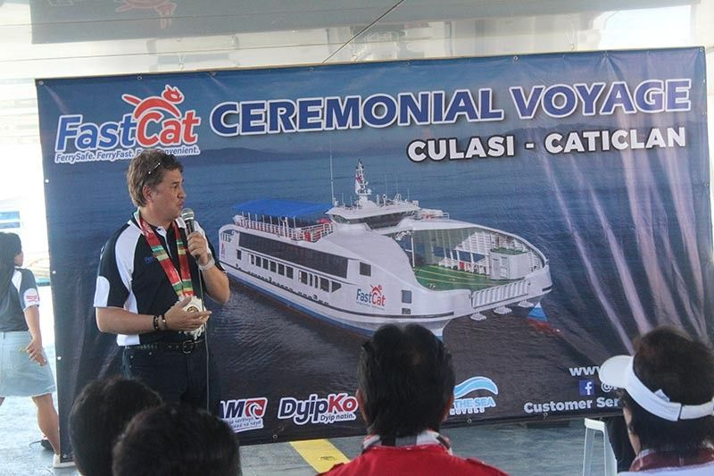 ANTIQUE. Christopher Pastrana explains to the attendees the goal of the APFC during the ceremonial voyage Monday, May 6, 2019. (Jun N. Aguirre)