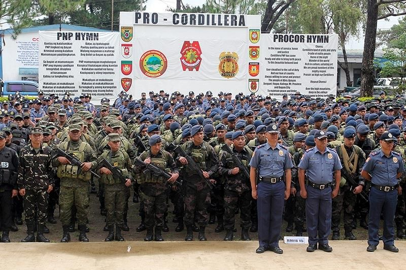 BAGUIO. Some 1,235 of the 6,244 Philippine National Police personnel and 1,700 Armed Forces of the Philippines are ready for deployment in the Cordillera Region for the national and local elections on May 13. (Photo by Jean Nicole Cortes)