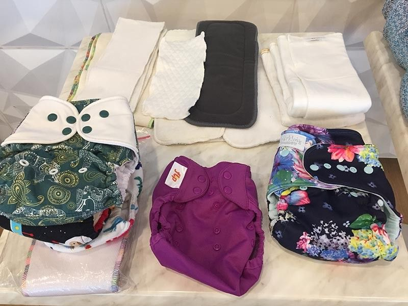 Different types of cloth diapers and inserts. (Contributed photo)