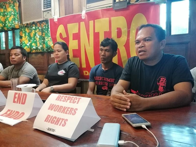 DAVAO. Terminated employees of cement manufacturing firm Lafarge Holcim Ltd. in a press conference at Paterno's Restaurant in Davao City. (Photo by Ralph Lawrence G. Llemit)