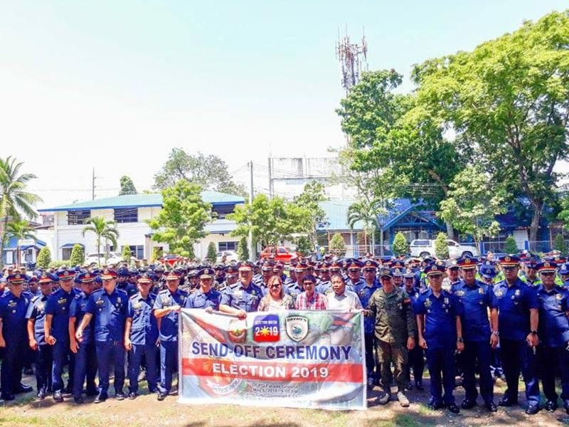 DAVAO. Davao City Police Office personnel during Monday's (May 6) send-off ceremony of security personnel. (Juliet Revita)