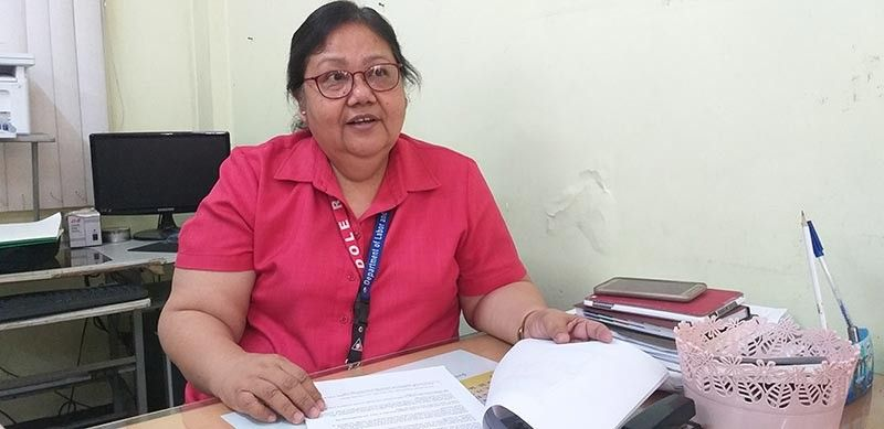 BACOLOD. Department of Labor and Employment (Dole)-Negros Occidental head Mary Agnes Capigon in an interview at the agency's Provincial Field Office in Bacolod City Monday, May 6, 2019. (Photo by Erwin P. Nicavera)