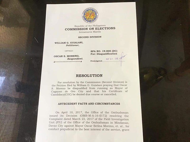 CAGAYAN DE ORO. Commission on Elections commissioner Luie Tito Guia confirmed that this document which circulated online, supposedly dismissing Mayor Oscar Moreno from the mayoralty race, is fake. (PJ Orias)