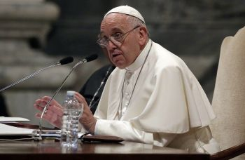 ROME. Pope Francis speaks during a meeting with the dioceses of Rome, at the Vatican Basilica of St. John Lateran, in Rome, Thursday, May 9. (AP)