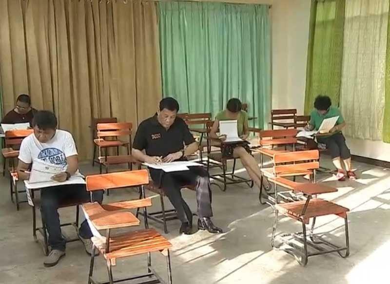 DAVAO. President Rodrigo Duterte, sitting on
