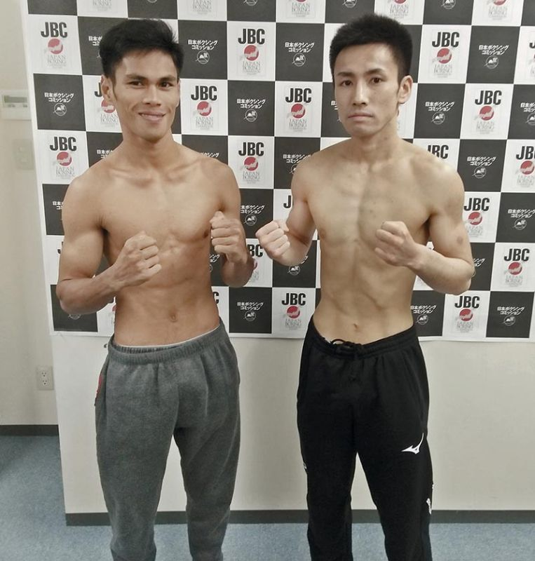 CALM BEFORE THE STORM. Renoel Pael (left) and Japanese Ryusei Kawaura pose for a photo before they clash in Tokyo, Japan on Tuesday, May 14. (Contributed photo)