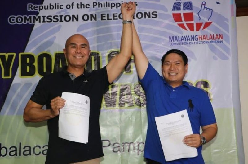 Re-elected Mabalacat City Mayor Cris Garbo and runningmate Vice Mayor-Elect Geld Aquino were proclaimed yesterday as winners in the Mayoralty and Vice Mayoralty post in this City. Garbo and Aquino obtained 52,517 votes and 52,509 votes, respectively. (Chris Navarro)