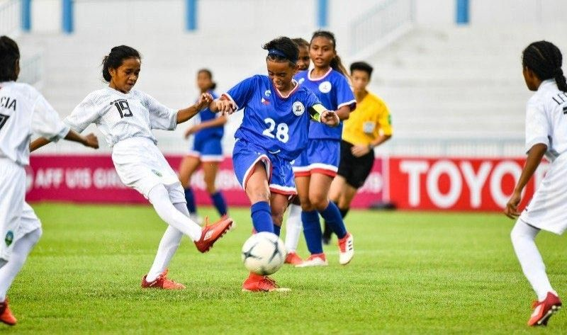 THAILAND. Chenny Mae Dañoso of Canlaon City, No. 28, grabs ball possession during their game against Timor Leste Tuesday in the Asean Football Federation U15 Girls Championships 2019 at the Institute of Physical Education in Chonburi, Thailand. (Photo from Asean Football's Twitter account)