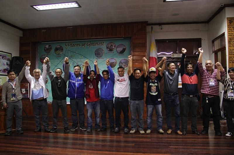 BENGUET. Winning candidates in the municipality of La Trinidad were proclaimed Tuesday morning, May 14, led by incumbent Mayor Romeo Salda. (Photo by Lauren Alimondo)