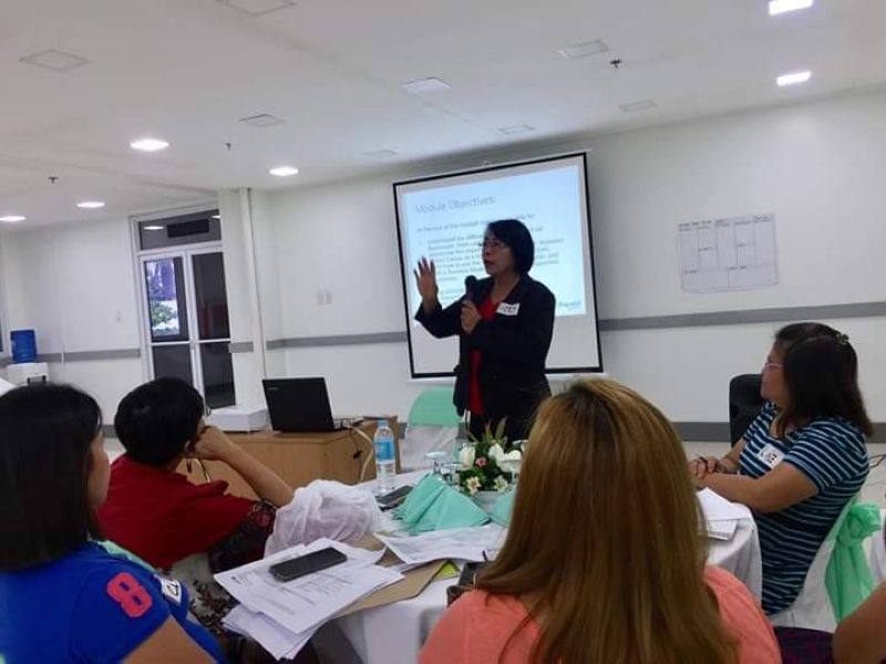 BACOLOD. Mentor Mercedes Cañal (standing) with some of the MSME-mentees during the training on business model canvas module in Cadiz City recently. (Contributed Photo)