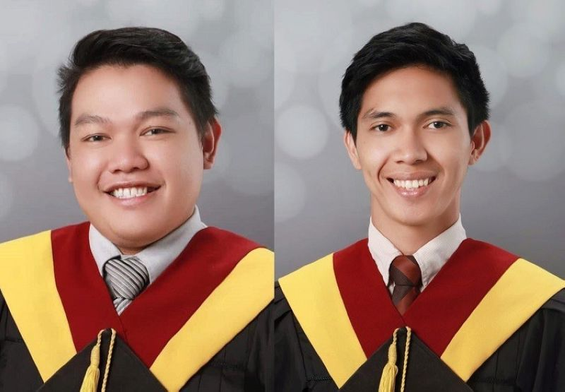 CEBU. Ronie Tarriga II and Jobert de la Cruz who got 95.20 percent and 92.15 percent, respectively, grabbed the first and 10th place of the licensure exam for civil engineering. (Contributed photo)
