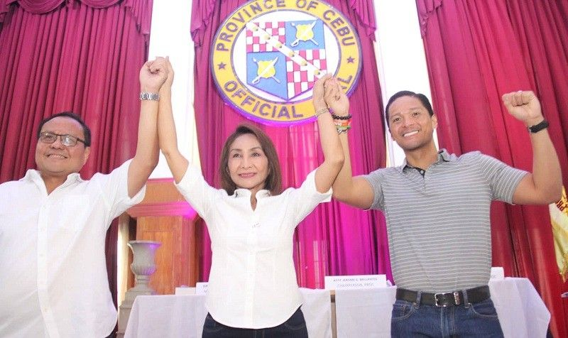 CEBU. Third district congressman- elect Pablo John Garcia, Governor- elect Gwendolyn Garcia and  fifth district congressman- elect Duke Frasco. (Amper Campaña)