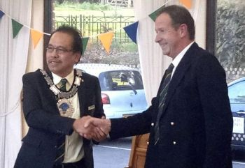 UK. East Grinstead town Mayor Danilo M. Favor (left) is installed into office on May 11, 2019. (Photo by Jose
