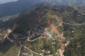 BENGUET. This file photo taken on September 2018 shows an aerial view of the landslide area in Itogon, Benguet which buried scores of lives. Local Officials are still in search for a safe and viable lot to relocate 700 families affected by the tragedy. (Photo by Jean Nicole Cortes)