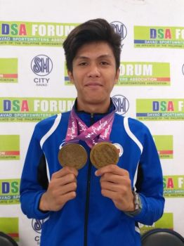DAVAO. Davao City jumper Mark Anthony Caseñas, showing his two Arafura Games 2019 golds, aims to win medals again as he makes his debut in the National Prisaa Games 2019 that formally opened Sunday, May 19, at the University of Mindanao (UM) in Matina, Davao City. (Marianne L. Saberon-Abalayan)