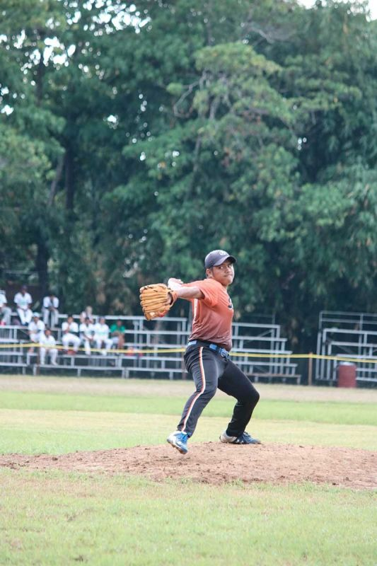 DAVAO. Davao Region's Jester Dave Mansalayao, who was most valuable player (MVP) in Bohol last year, strikes out a Soccsksargen batter during their National Prisaa Games 2019 game at the University of Mindanao (UM) field Monday, May 20, 2019. (Ace June Rell S. Perez)