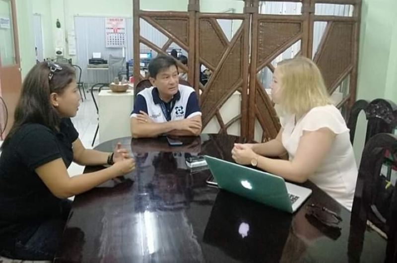 BACOLOD. German foundation Justice F representative Corinna Peters (right) interviews Department of Science and Technology (DOST) - Negros Occidental director Allan Francis Daraug (center) on the development and impact of multi-stakeholders partnership approach under WeTrace Philippines Program of the Association of Negros Producers (ANP) at the DOST Provincial Office in Bacolod City Tuesday, May 21, 2019. Peters also met with provincial agriculturist Japhet Masculino on Monday. Also in photo, ANP admin and external affairs manager and project coordinator of WeTrace Philippines Sybel Nobleza. (Contributed Photo)