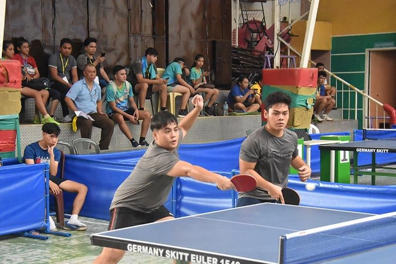 DAVAO. Aldro John Dante and Christian Jay Montero of Davao region compete in doubles of the junior boys table tennis team competition finals against Western Visayas in the National Prisaa Games 2019 at the Davao Doctors College gym in Davao City Wednesday, May 22, 2019. (Marianne L. Saberon-Abalayan)