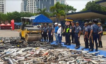 MANILA. Thousands of sirens, blinkers and other illegal vehicle accessories were destroyed Wednesday, May 22, by the Highway Patrol Group. (Photo from Philippine National Police)