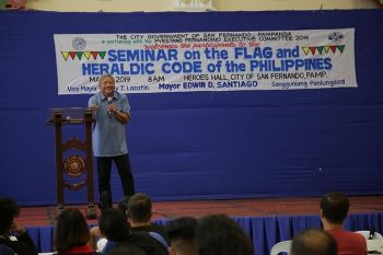 PAMPANGA. Teodoro Atienza, NHCP chief of Heraldry Section, leads the Seminar on Flag and Heraldic Code of the Philippines among the private and public sector at the Heroes Hall on May 21, 2019. The event was made in time for the celebration of the National Heritage Month and the forthcoming National Flag Day. (Contributed photo)