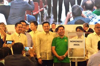 MANILA. Some of the nominees during the proclamation of winning party-list groups Wednesday, May 22, 2019. (Joshua Calib)