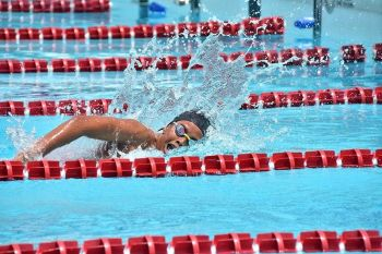 DAVAO. Eirron Seth Vibar of Davao region, in file photo, collects his third gold medal by topping the junior boys 1,500-meter freestyle event in the National Prisaa Games 2019 swimming competition at the Davao del Norte Sports and Tourism Complex in Tagum City Wednesday, May 22, 2019. (Macky Lim)