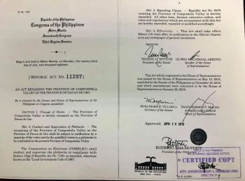 DAVAO. A copy of the Republic Act 11297, which was signed into law, renaming the province of Compostela Valley into Davao de Oro. (Photo from Rep. Maricar Zamora's Facebook page)