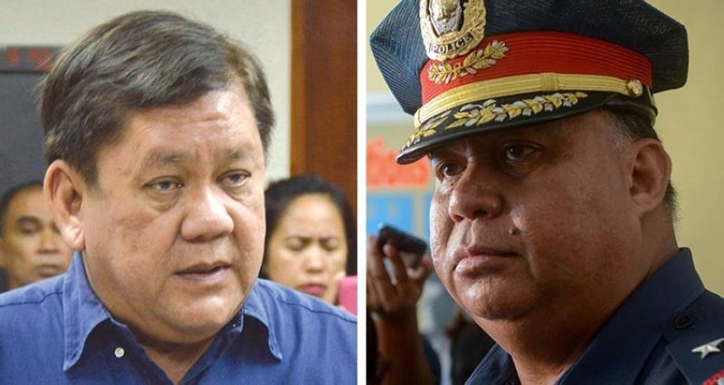 TRADING CHARGES. Police Regional Office 7 Director Debold Sinas (right) says a patrolman has lodged criminal and administrative complaints against outgoing Cebu City Mayor Tomas Osmeña (left) over an encounter outside Camp Sotero Cabahug last May 12. It turns out the mayor also sued the patrolman over the same incident. (SunStar file)