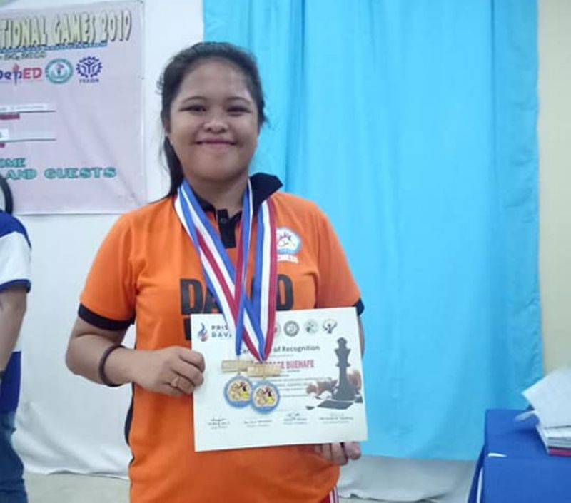 DAVAO. Honey Grace Buenafe wins two gold medals in college women's division of the just-concluded National Prisaa Games 2019 chess competition at the Sofia Hall of Agro-Industrial Foundation College of the Philippines, Barangay 76-A in Matina, Davao City. (Photo from Marshell Modina Facebook account)