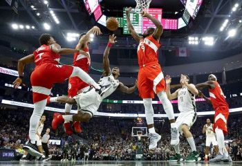 Milwaukee Bucks' Eric Bledsoe shoots during the first half of Game 5 of the NBA Eastern   Conference basketball playoff finals against the Toronto Raptors Thursday, May 23, 2019, in   Milwaukee. <b>(AP)</b>