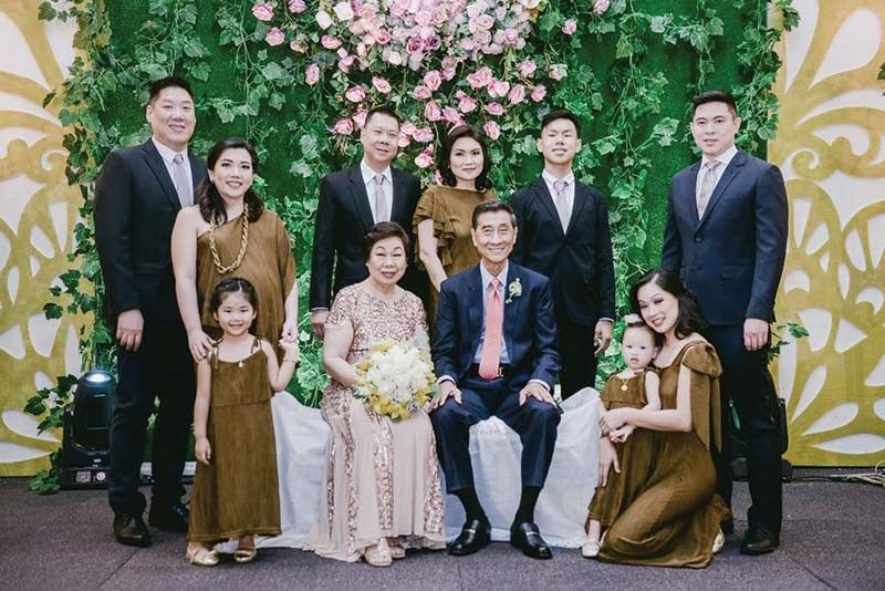 GOLDEN COUPLE. Alex and Loreta Dytian during their 50th wedding anniversary celebration at Oakridge Pavilion. Above photo shows the golden couple and family, from left, Derek and April Dytian with daughter Alessa; John and Josephine Dytian and son Joseph; and Lorraine Dytian Tieng with daughter Alison (foreground) and husband Joseph John Tieng behind her.
