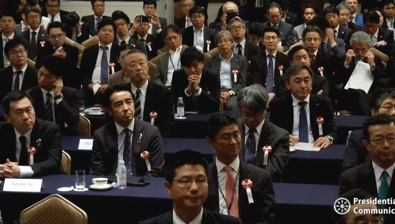 TOKYO. Japanese businessmen listen to President Rodrigo Duterte (not in photo) during a business forum in Tokyo, Japan on Wednesday, May 29, 2019. (Photo from Palace video)