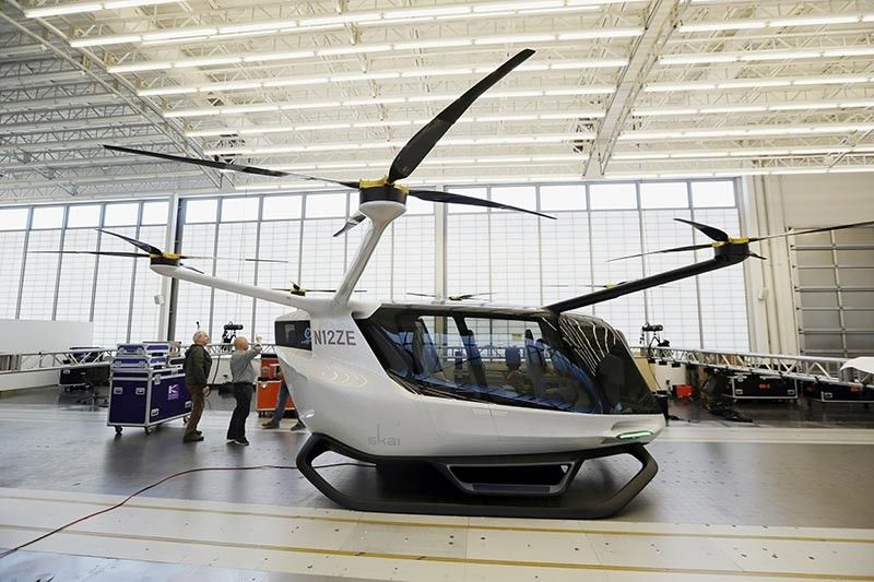 The Skai Vehicle shown above was developed by Alaka'i Technologies in Newbury Park, California. The transportation company is betting its hydrogen-powered electric flying vehicles will someday serve as taxis, cargo carriers and ambulances of the sky. (AP Photo)