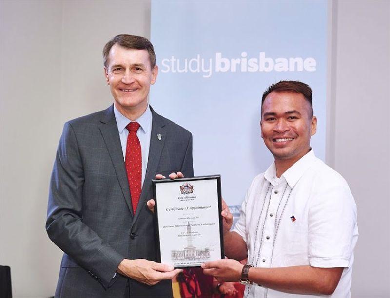 AUSTRALIA. Simeon Remata III with former Brisbane Mayor Graham Quirk. (Contributed photo)