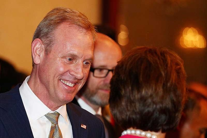 SINGAPORE. Acting U.S. Secretary of Defense Patrick Shanahan, left, arrives for the opening dinner of the 18th International Institute for Strategic Studies (IISS) Shangri-la Dialogue, an annual defense and security forum in Asia, in Singapore, Friday, May 31, 2019. (AP)