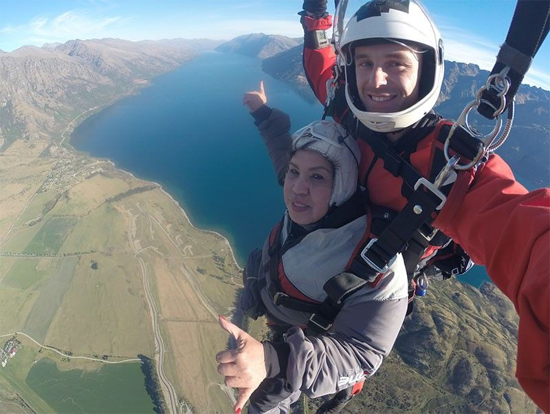 NEW ZEALAND. Atty. Lorna Patajo-Kapunan trying out skydiving in Queenstown, New Zealand. (Contributed photo)