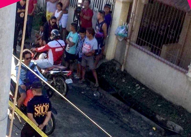 DAVAO. Ang crime scene sa pagpatay sa kanhi manager. (Hulagway kuha sa netizen)