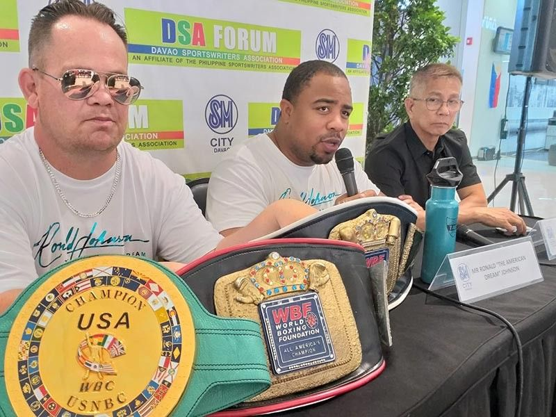 "DAVAO. Ronald ""The American Dream"" Johnson of the United States, center, says during the Davao Sportswriters Association (DSA) Forum at The Annex of SM City Davao Thursday, June 6, 2019, he will definitely go for the win when he faces Saul ""The Phoenix Assassin"" Farah of Bolivia in their vacant Global Boxing Organization (GBO) world heavyweight title fight. (Marianne L. Saberon-Abalayan)"
