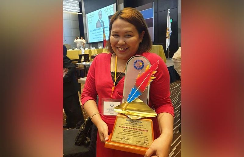 MANILA. Superbalita Davao reporter Rhona Goc-ong-Villariasa was named Regional Female Reporter of the Year in the print category of the Rotary Club of Manila Centennial Journalism Awards. (Contributed photo)