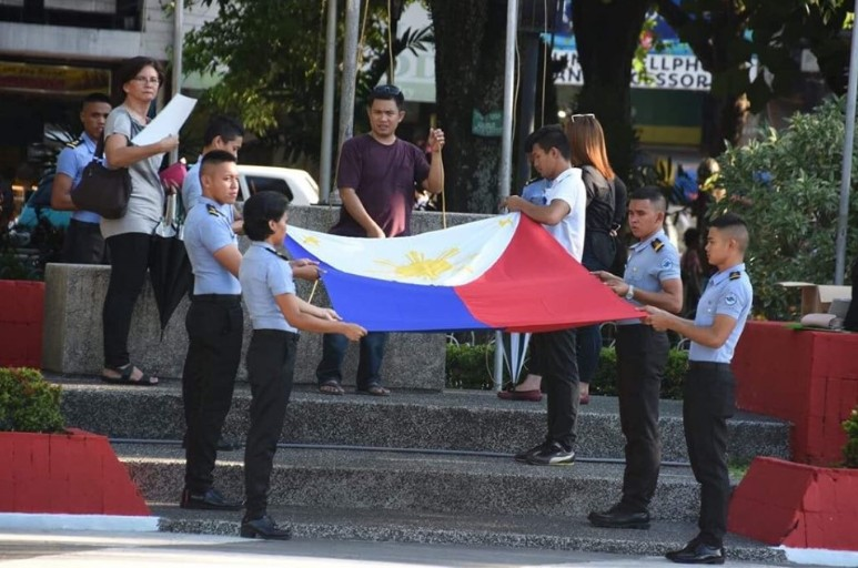 BACOLOD. Students in Bacolod City rehearse the flag raising ceremony at the Bacolod public plaza for the 121st Philippine Independence Day celebration on Wednesday, June 12, 2019. (Photo by MAP)
