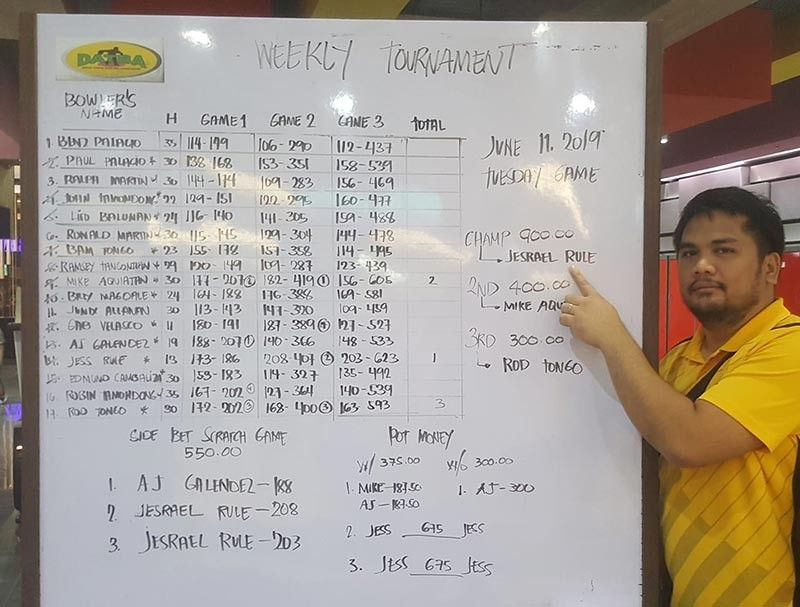 THAT'S ME. Champion Jesrael Rule points his name on the scoreboard after topping the Datba weekly singles tournament held Tuesday evening at the SM Lanang Premier Bowling Center. (Jesrael Rule Facebook)