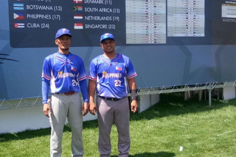 FROM DAVAO TO THE WORLD. Former University of Mindanao batters Saxon Omandac and Earl Ryan del Socorro form part of the World ranked No. 17 Philippine Blu Boys who will first clash against No. 24 Cuba in Group A of the WBSC Men's Softball World Championship today, June 14, at the Hippos Arena, Havlíckuv Brod, Czech Republic. (Earl Ryan Del Socorro)